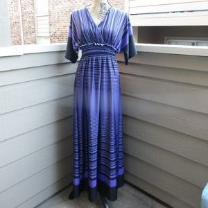 Cristinalove purple & black maxi dress L 1113